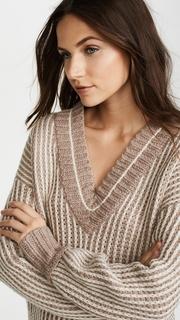 Brochu Walker Jenssen Striped V Neck Sweater