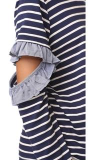 Clu Clu Too Open Sleeve Striped Top with Ruffles