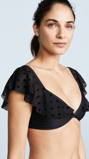 Ella Moss Sheer Dot Off Shoulder Bikini Top