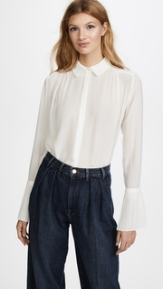 FRAME Pintucked Long Sleeve Blouse