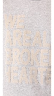 FREECITY Fuzzy We Are All Broken Hearted Golden Sew Tee