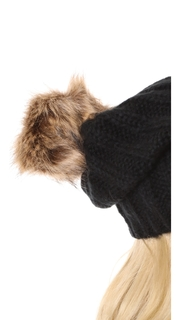 Hat Attack Faux Pom Rib Slouchy Beanie