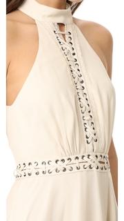 Haute Hippie High Neck Mini Dress with Lacing
