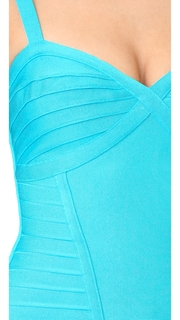 Herve Leger Suma Sleeveless V Neck Top