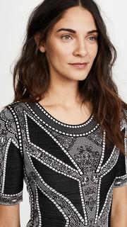 Herve Leger Lace & Eyelet Detail Midi Dress