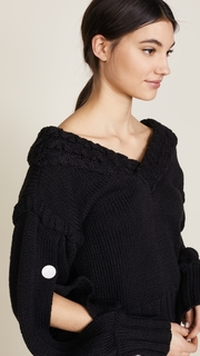 Hellessy Open V Neck with Slit Sleeves