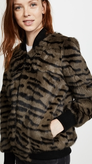 Jocelyn Tiger Print Rabbit Bomber Jacket