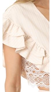 Jonathan Simkhai Trimmed Lace Ruffle Crop Top
