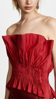 Jonathan Simkhai Structured Silk Bustier Trumpet Dress