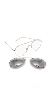 Linda Farrow Luxe 18k White Gold Plate Aviator Clip On Sunglasses
