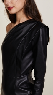 Michelle Mason Faux Leather One Sleeve Dress
