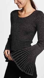 Milly Metallic Rib Flare Sleeve Sweater
