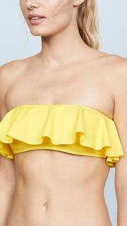 Milly Vita Solid Ruffle Bandeau Bikini Top