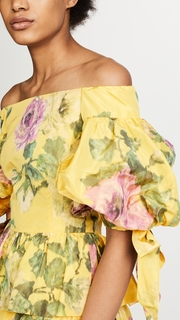 Marchesa OTS Peplum Top in Taffeta