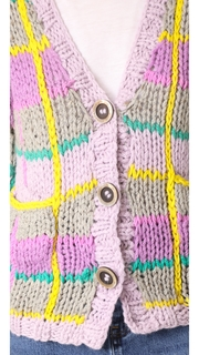 Natasha Zinko Hand Knitted Plaid Cardigan