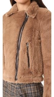 Otto dame Ashley Faux Fur Moto Jacket