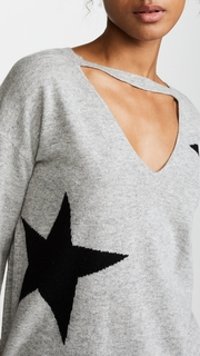 Pam & Gela Cutout Sweater with Star Intarsia