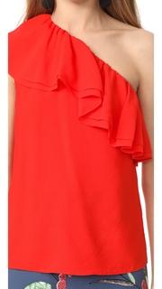 Rebecca Taylor One Shoulder Silk Top