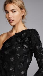 Rebecca Taylor One Shoulder Glitter Top