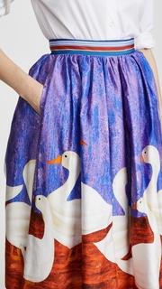Stella Jean Duck Print Circle Skirt with Crinoline
