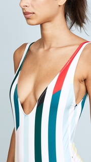 Solid & Striped The Michelle Split Stripe One Piece Swimsuit