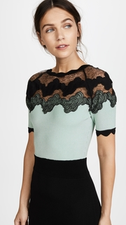 Yigal Azrouel Shell Lace Combo Short Sleeve Dress
