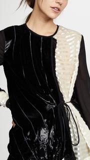 Yigal Azrouel Liquid Velvet Tie Front Blouse