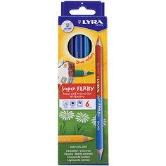 Высокопигментные цветные двусторонние карандаши, 6 шт=12 цветов. Lyra