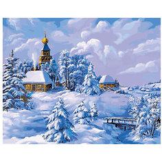 """Раскраска по номерам Белоснежка """"Зима в деревне"""", 40х50 см"""