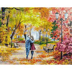 """Раскраска по номерам Белоснежка """"Осенний парк, скамейка, двое"""", 40х50 см"""