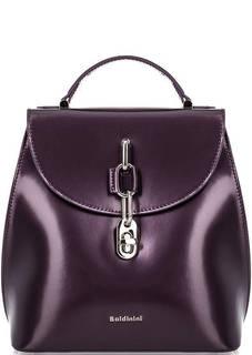 Фиолетовый кожаный рюкзак с откидным клапаном Baldinini