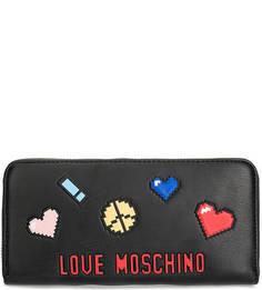 Черный кошелек на молнии Love Moschino