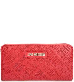 Красный кошелек с тиснением Love Moschino