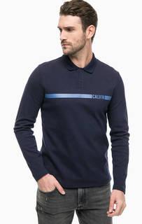 Синяя хлопковая футболка поло с принтом Calvin Klein Jeans