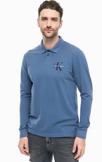 Синяя хлопковая футболка поло с вышивкой Calvin Klein Jeans