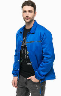 Синяя куртка на кнопках с принтом Calvin Klein Jeans