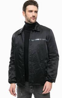 Черная куртка на кнопках с принтом Calvin Klein Jeans