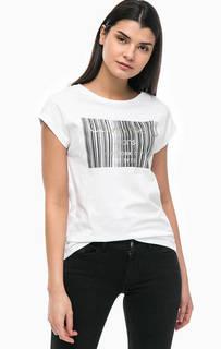 Белая хлопковая футболка с принтом Calvin Klein Jeans