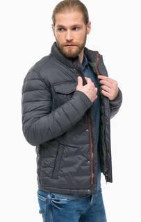 Серая демисезонная куртка на молнии и кнопках Pepe Jeans