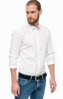 Белая хлопковая рубашка с длинными рукавами Mustang