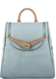 Голубой рюкзак из зерненой кожи Bruno Rossi