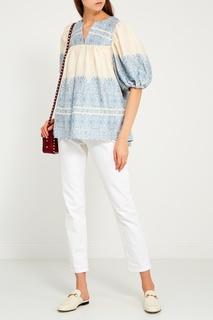 Блузка из хлопка и льна Zimmermann