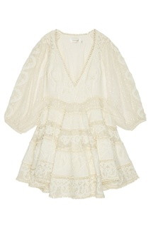 Платье из шелка и хлопка с кружевом Zimmermann