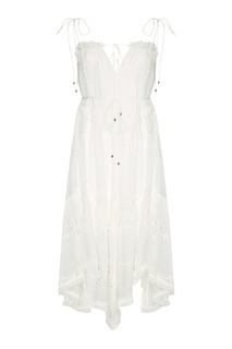 Белое платье из вышитого льна Zimmermann