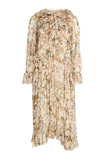 Льняное платье с принтом Zimmermann