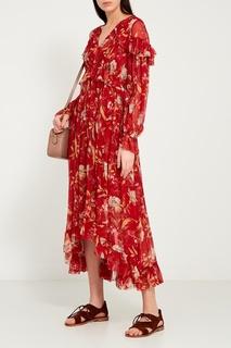 Красное льняное платье с цветами Zimmermann