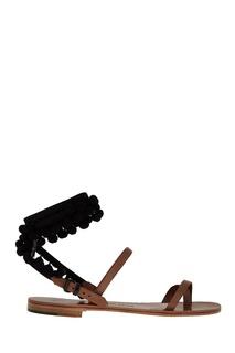 Кожаные сандалии с помпонами Alvaro