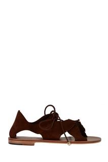 Коричневые сандалии из замши Alvaro
