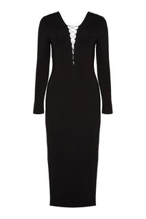 Черное платье со шнуровкой T by Alexander Wang