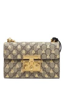 Бежевая сумка с пчелами Padlock Gucci